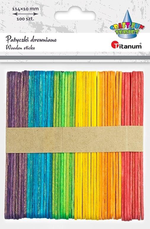 Patyczki drewniane mix kolor 114x10x2mm A`100