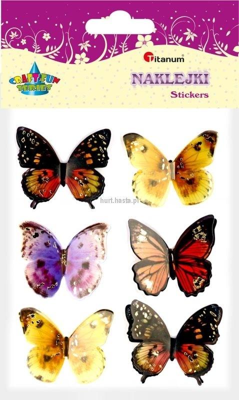 Naklejki przestrzenne motyle 6 szt mix Titanum