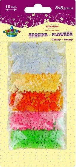 Cekiny kwiaty blister 5x5g 10mm mix kolor