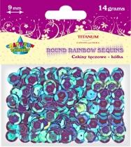 Cekiny kreatywne okrągłe fioletowe tęczowe 9mm 14g