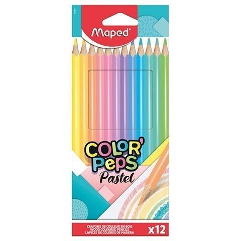 Kredki ołówkowe trójkątne pastel 12 kol.Colorpeps