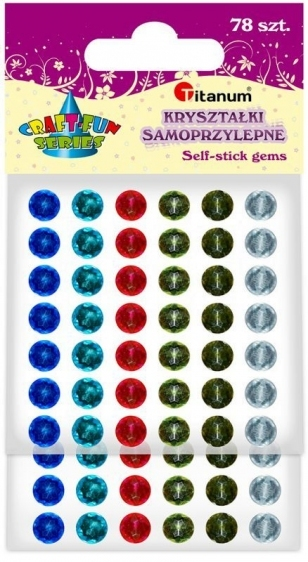 Kryształki samoprzylepne 7mm mix kolor 78szt Titan