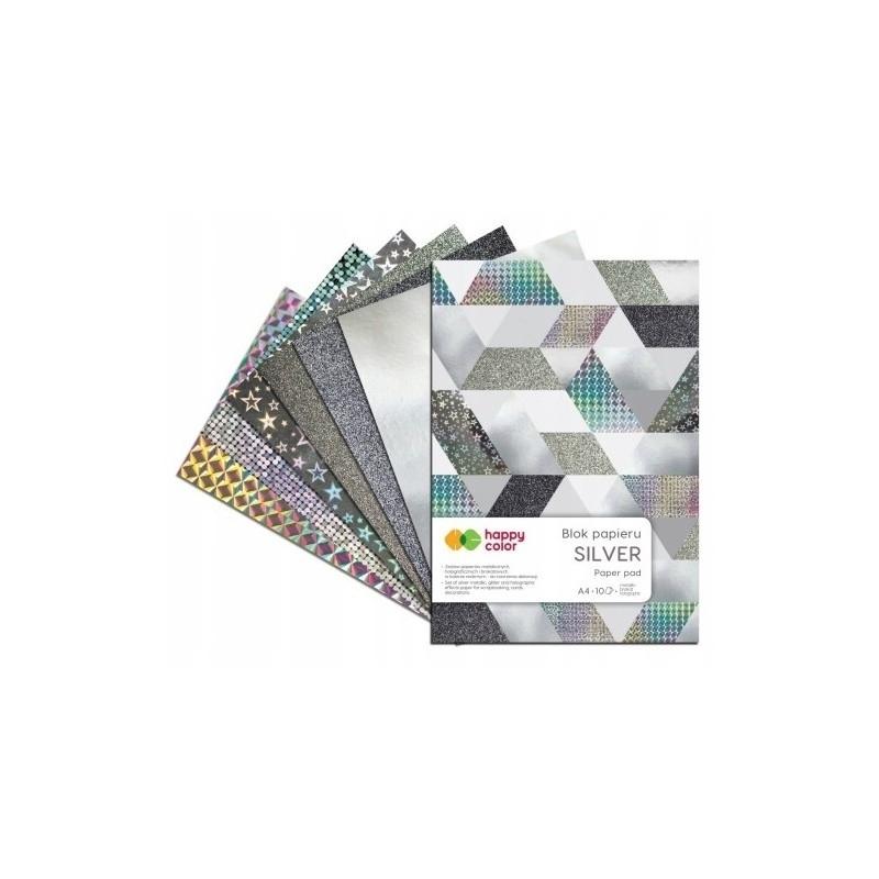 Happy Color blok Silver A4 10 ark 150-260g Happy