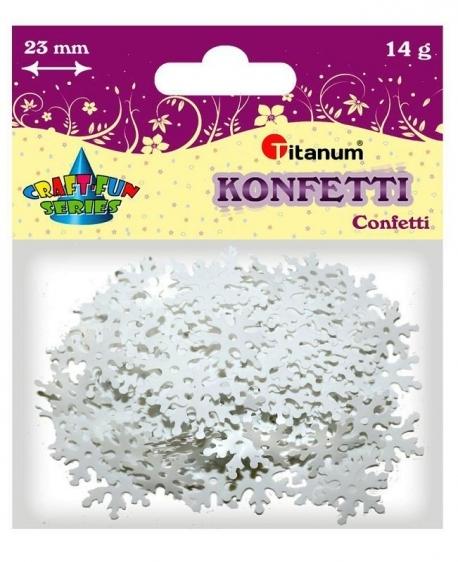 Konfetti dekoracyjne białe płatki śniegu 23mm 14g