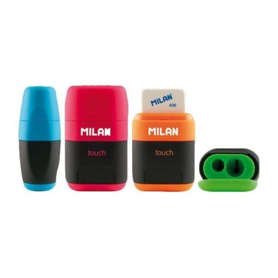 Temperówka podwójna i gumka 2w1 MILAN Compact Rubber Touch