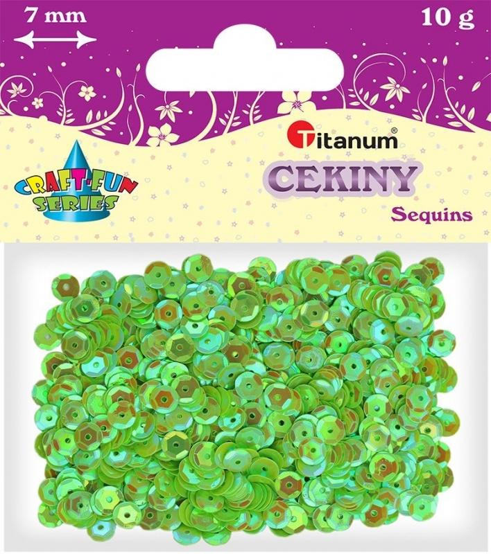 Cekiny okrągłe 7mm 14g tęczowe zielone