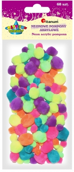 Pompony akrylowe kreatywne mix kolorów neon 10-25mm 68szt.
