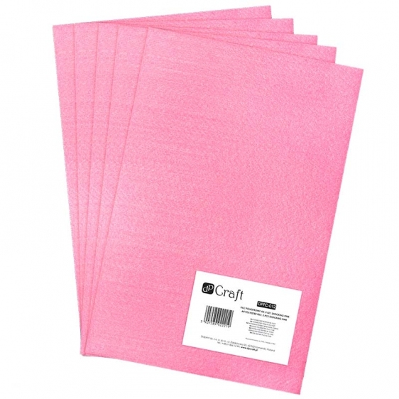 Filc poliestrowy A4 różowy 5 arkuszy Dalprint