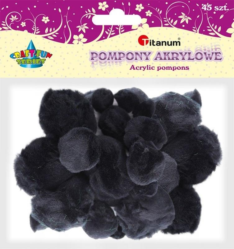 Pompony akrylowe kreatywne czarne 1-5 cm A`45