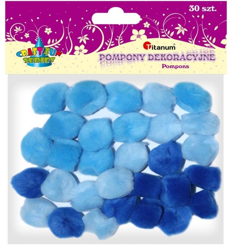 Pompony akrylowe kreatywne niebieskie mix 25mm 30szt.