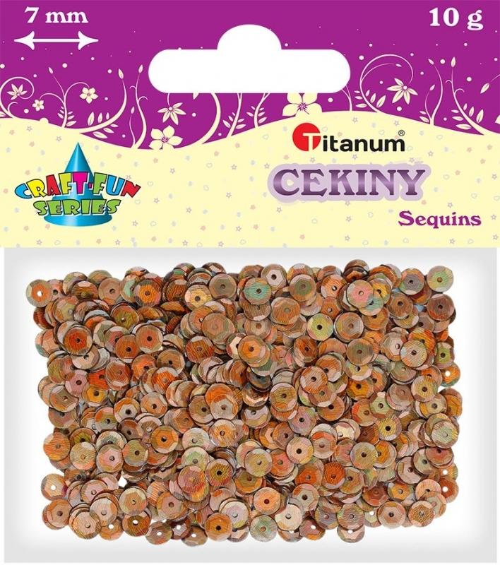 Cekiny kreatywne okrągłe  brązowe perłowe  7mm 14g