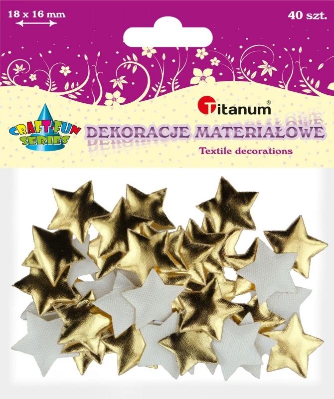 Dekoracje materiałowe gwiazdki złote 18x16mm A`40