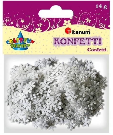 Konfetti dekoracyjne białe płatki śniegu 1x1cm 14g