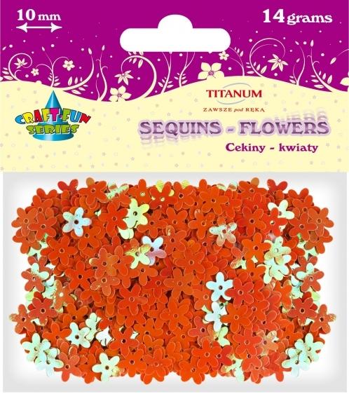Cekiny kreatywne kwiaty tęczowe pomarańczowe 10mm 14g