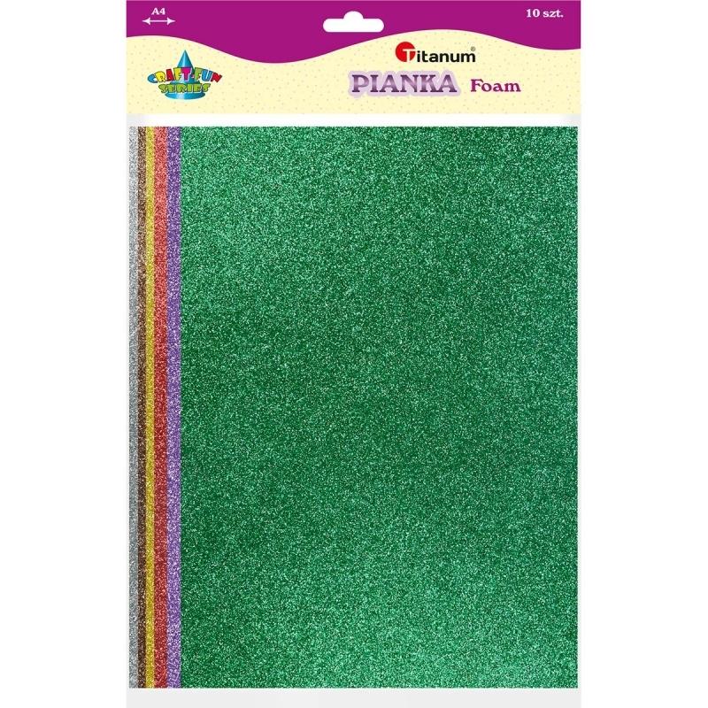 Arkusz piankowy A4/10 brokat mix kolor TITANUM