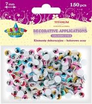 Oczy kreatywne dekoracyjne ruchome kolorowe z rzęsami 7mm 150szt