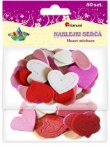 Dekoracje piankowe kreatywne samoprzylepne serca 2,5x4,5cm 50szt