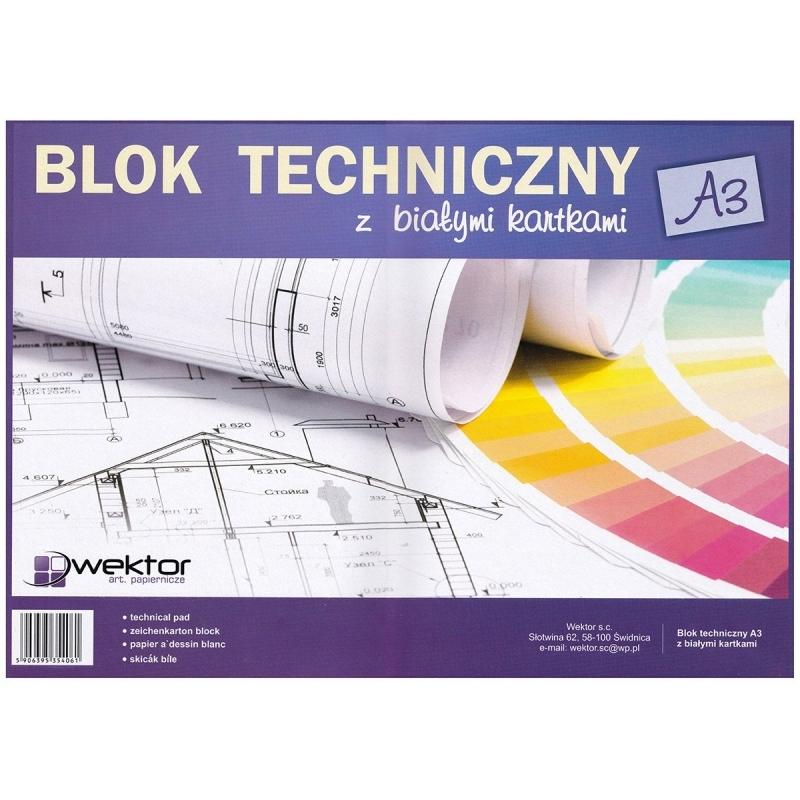 Blok techniczny A3 10 kartek biały Wektor