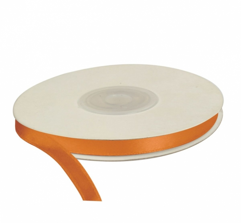 Wstążka satynowa dekoracyjna pomarańczowa 6mm/25m