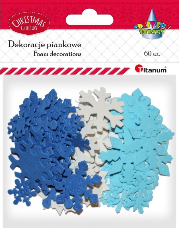 Dekoracje piankowe śnieżynki biały/niebieski 60szt