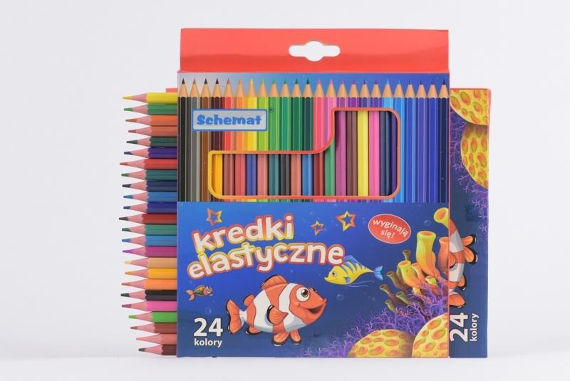 Kredki elastyczne sześciokątne 24 kolory Schemat