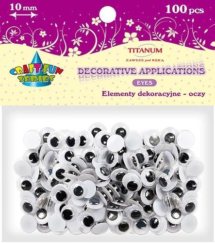 Oczy kreatywne dekoracyjne ruchome czarne 10mm 100szt.