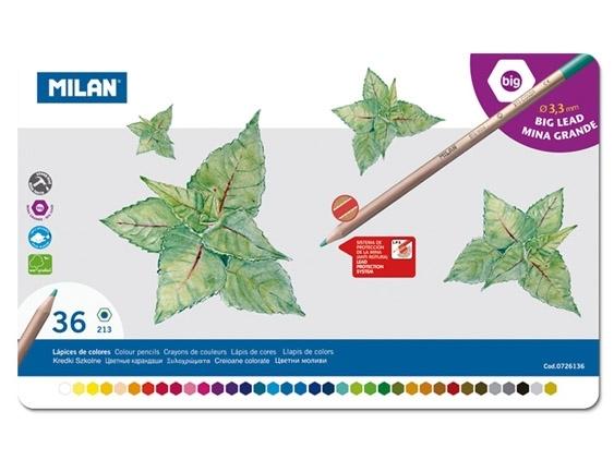Kredki Milan ołówkowe sześciokątne 36 kolory w metalowym opakowaniu