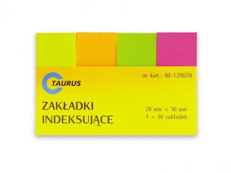 Zakładki indeksujące papierowe 20x50 neon Taurus