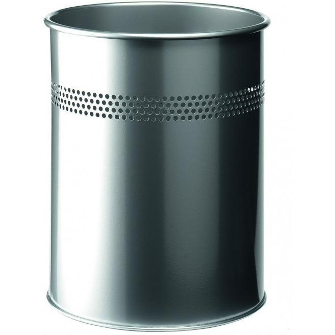 Kosz na śmieci 15L srebrny metalowy okrągły DURABLE