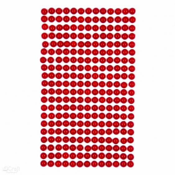 Perły samoprzylepne 6mm 260szt. czerwony