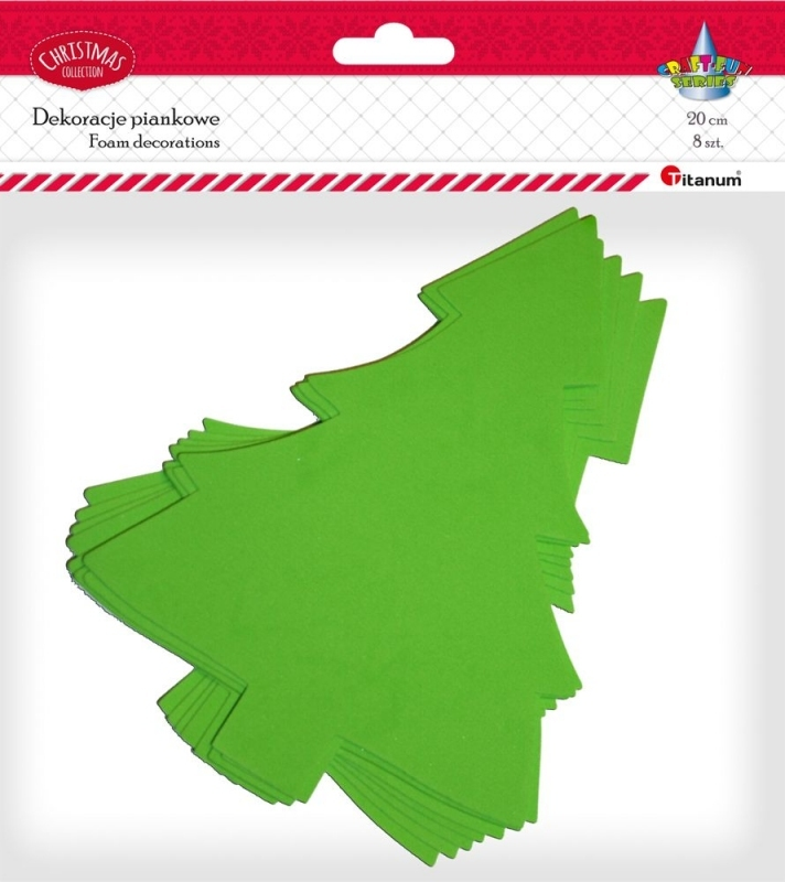 Dekoracje piankowe kreatywne świąteczne choinki 21cm 8szt