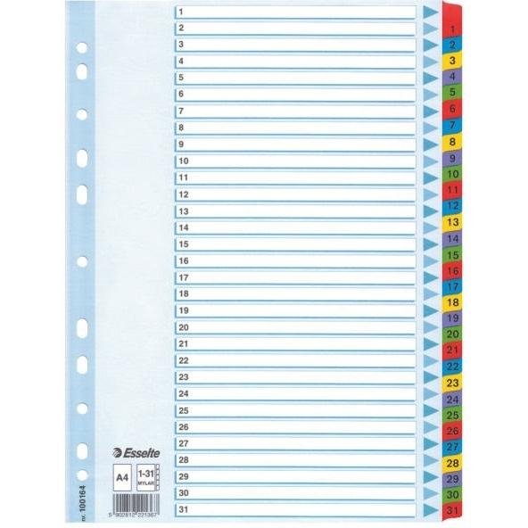 Przekładki kartonowe A4 białe 1-31 Mylar ESSELTE