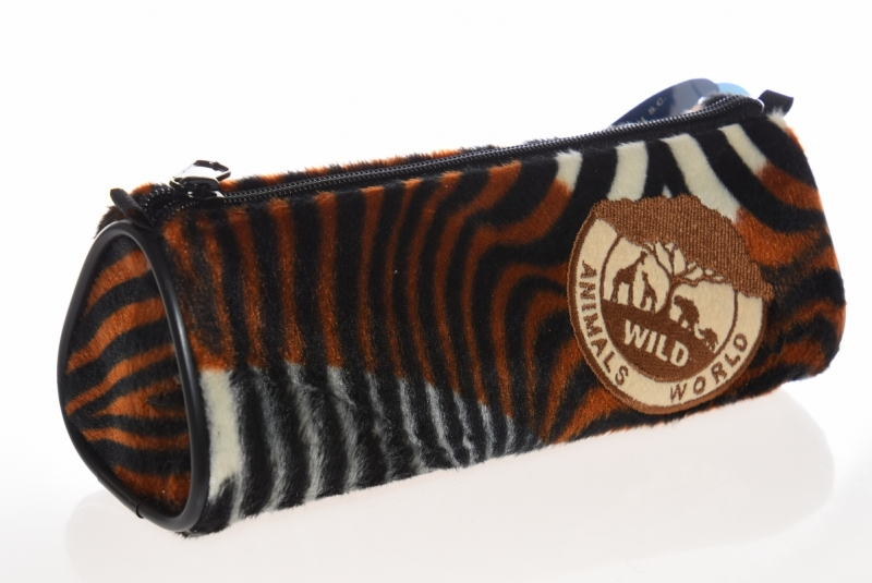 Piórnik tuba trójkątna Animals brązowy WAR498