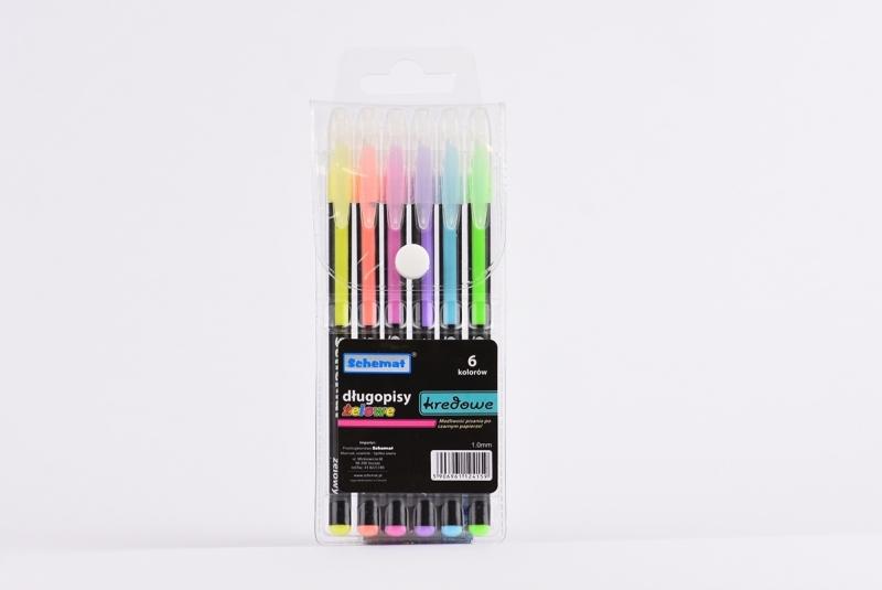 Długopisy żelowe kredowe 6 kolorów Schemat 4159