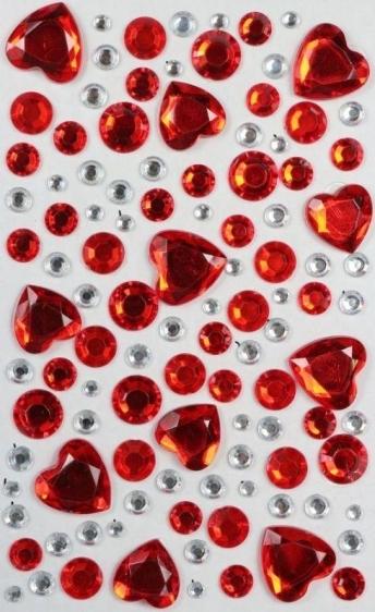 Kryształki samoprzylepne kreatywne serca/kropki 4-20mm 109szt