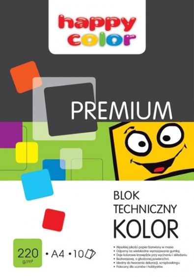 Blok techniczny kolorowy Happy Color A4 10 kartek 220g