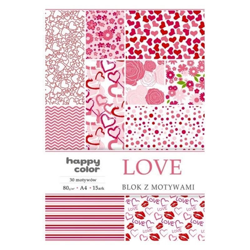 Happy Color blok z motywem Love A4 15 ark