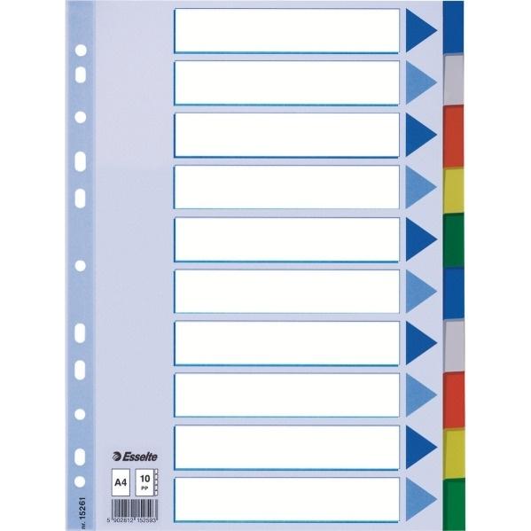 Przekładki plastikowe z PP A4 ESSELTE 10 kartek.