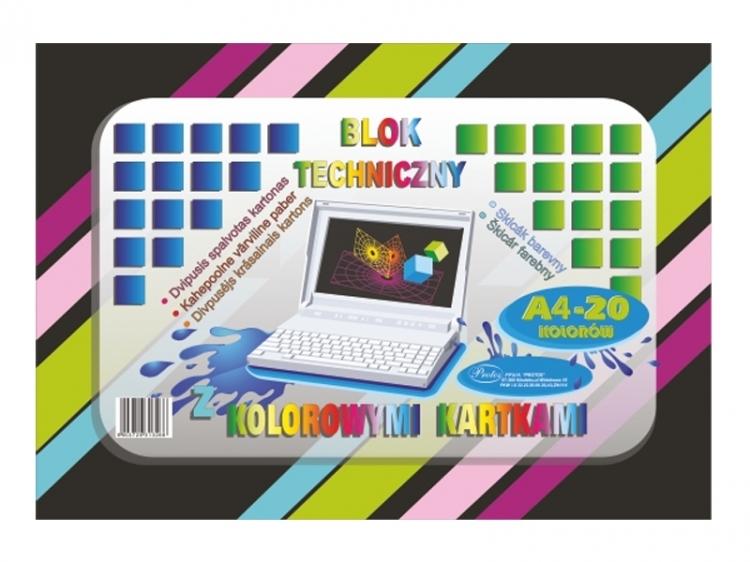 Blok techniczny kolorowy A4 20 kartek