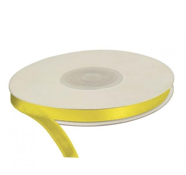 Wstążka satynowa dekoracyjna żółta 6mm/25m