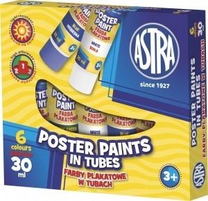 Farby plakatowe w tubie ASTRA 6kol. 30ml
