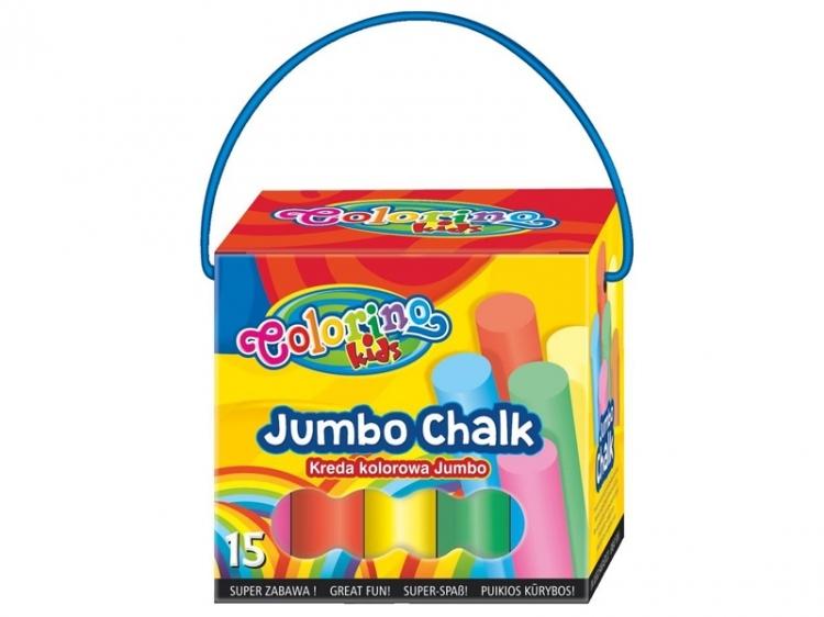 Kreda chodnikowa kolorowa JUMBO Chalk 15 sztuk