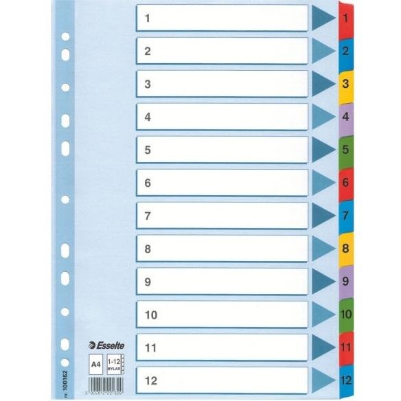 Przekładki kartonowe A4 białe 1-12  Mylar ESSELTE