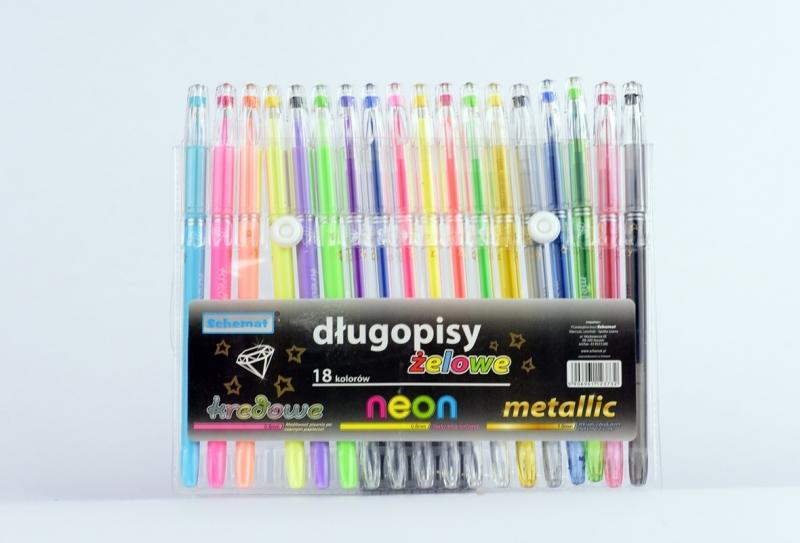 Długopisy żelowe z diamentem 18 kolorów