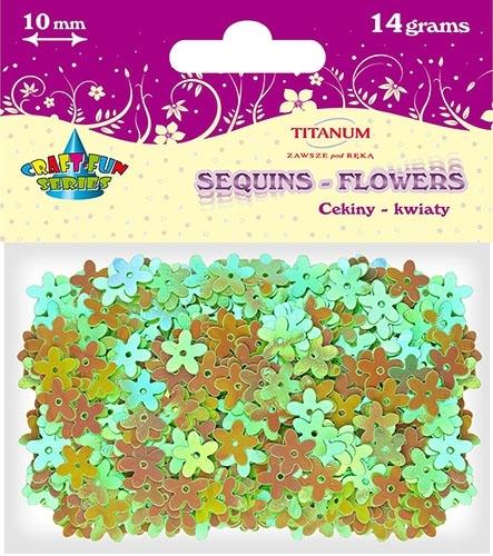 Cekiny kreatywne kwiaty zielone tęczowe 10mm 14g