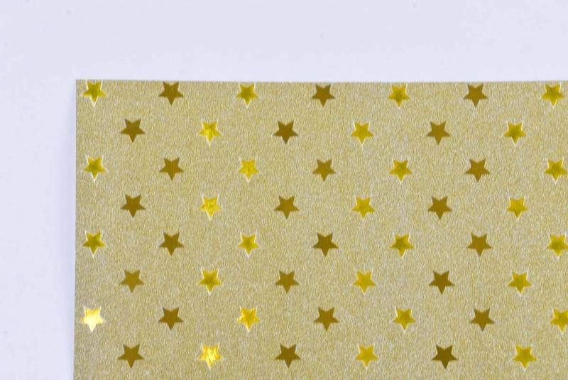 Brystol A2 220g brokatowo-metalizo. gwiazdki złoty
