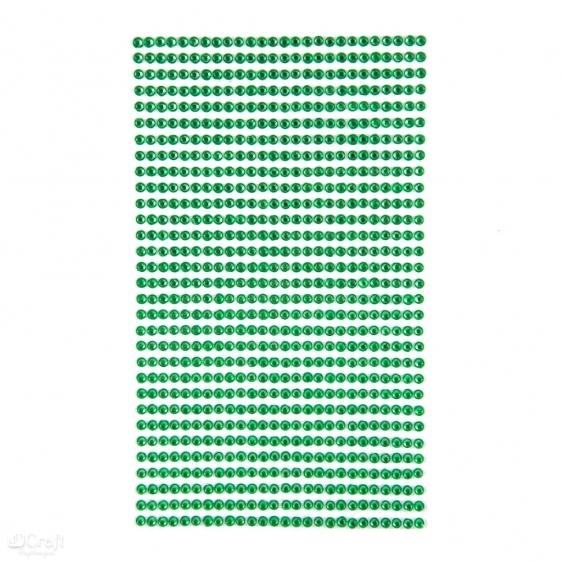 Kryształki samoprzylepne 3mm 806szt jasno zielony