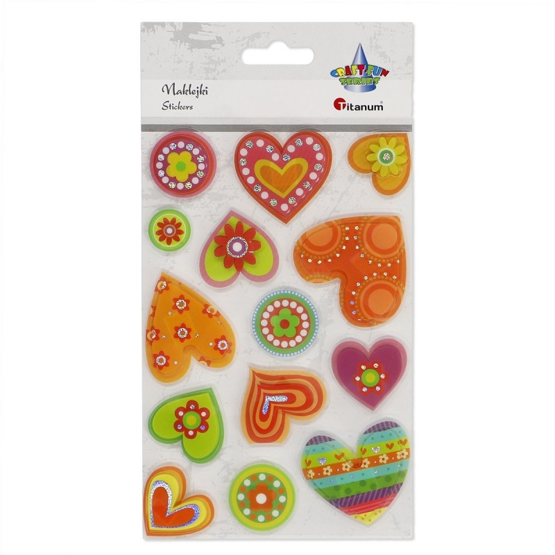 Naklejki dekoracyjne 3D serca kolorowe mix A`14