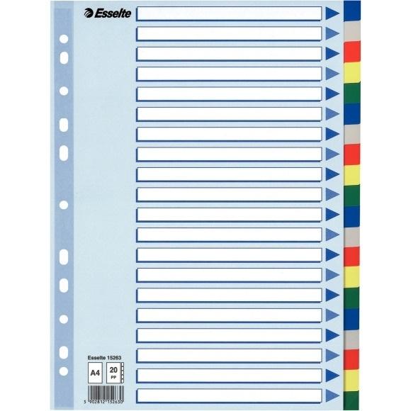 Przekładki plastikowe z PP A4 ESSELTE 20 kartek.