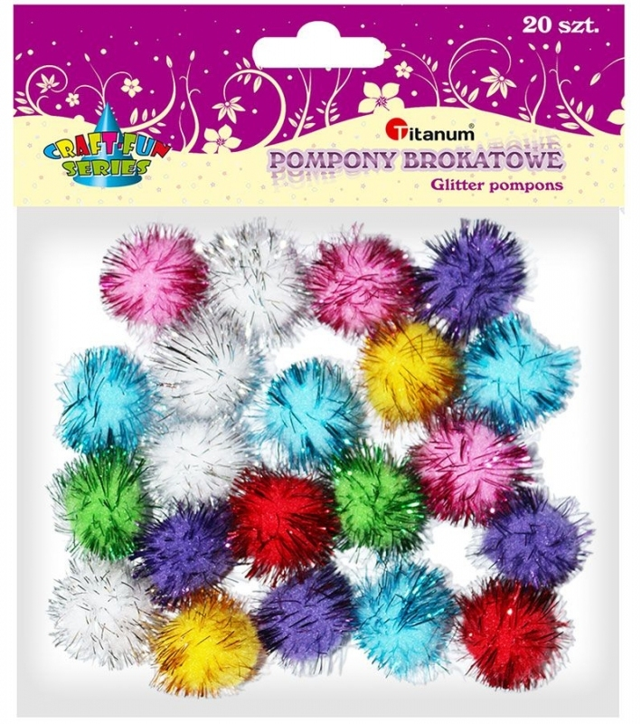 Pompony brokatowe 2,5cm mix kolor A`20
